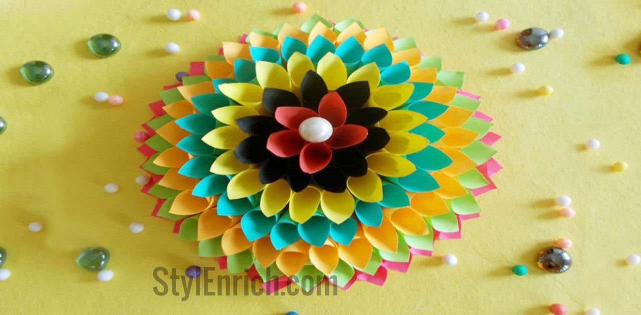 Wall decoration ideas to make floral craft for your walls for Art and craft for decoration