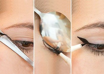 Winged Eyeliner Tips Using a Spoon