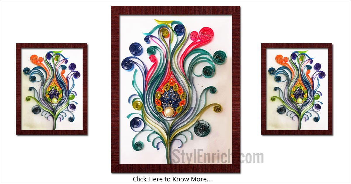 Quilling art vibrant peacock feather using quilling for How to quilling art