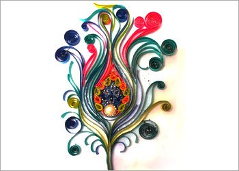 Peacock-feather-quilling-art-decor