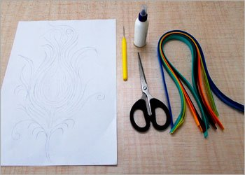 Peacock-feather-quilling-craft