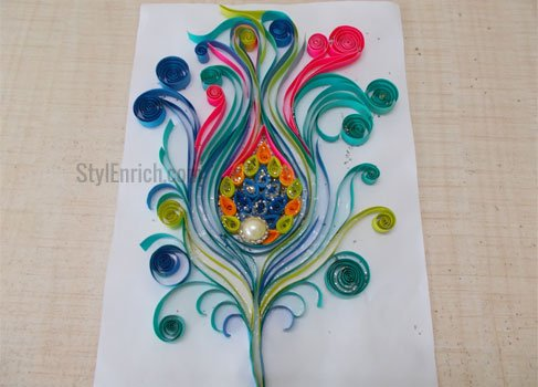 Quilling Art Vibrant Peacock Feather Using Quilling