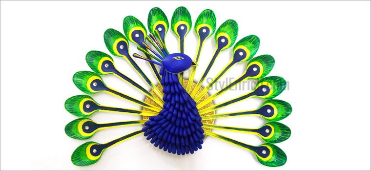 Plastic Spoons Peacock DIY Home Decor Craft