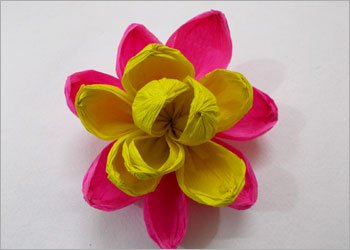 Crepe paper flower bouquet making