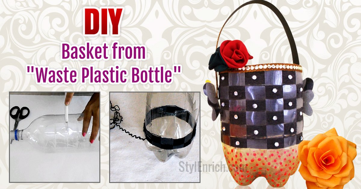Recycled crafts how to make utility basket from plastic for Diy plastic bottle crafts