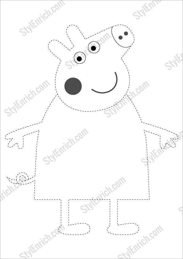Peppa Pig Crafts Free Stencil Template for Download