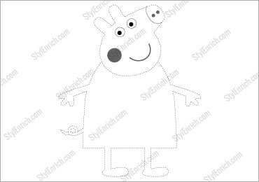 FREE Download : Stencil Template for Cute Peppa Pig Crafts for Kids!