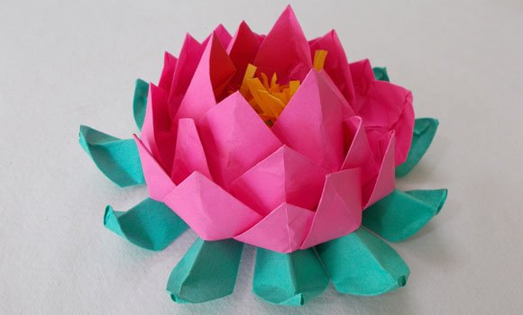 Origami lotus an easy paper crafts for kids for How to make a lotus with paper