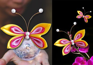 DIY for Girls : How To Make a Satin Ribbon Butterfly Hair Accessories