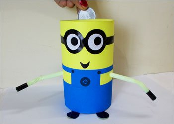 Minion piggy bank craft