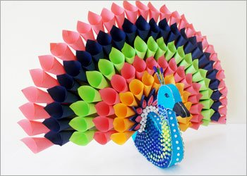 Paper peacock craft home decor