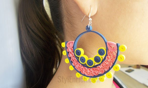 Beehive Pattern Quilling Earrings DIY Crafts