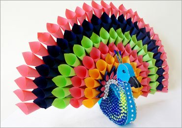 Multicoloured Paper Peacock For Home Decor!