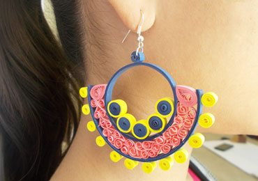 Quilling Earrings DIY Crafts : How to Make Quilled Beehive Earrings!