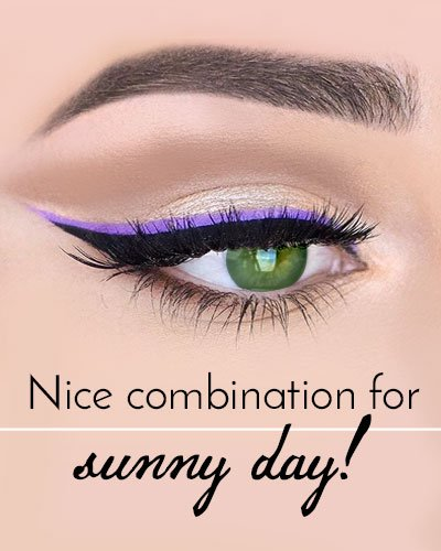 Purple Eyeliner Makeup for Green Eyes