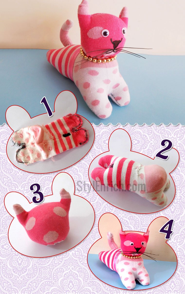 DIY Stuffed Toys : How to Make DIY Cat Craft Using Socks for Kids?