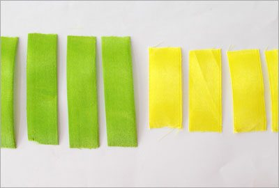 Green yello satin ribbon