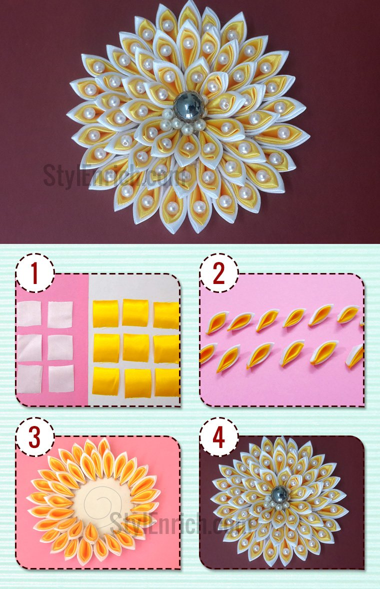 how to prepare satin ribbon flowers