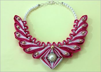 Satin Ribbon Necklace With Beads