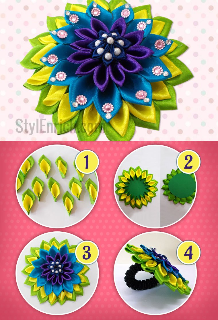 Satin Ribbon Flower DIY Hair Accessories