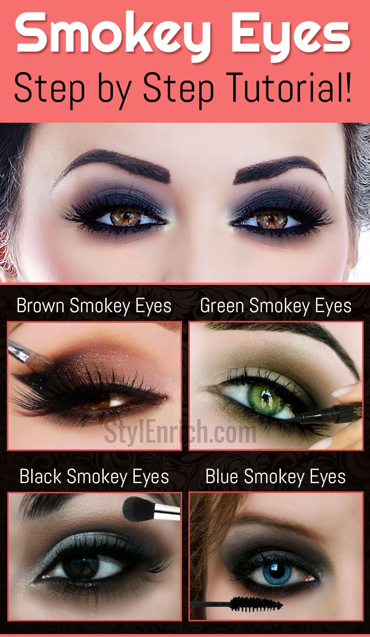Step by step smokey eye makeup with pictures