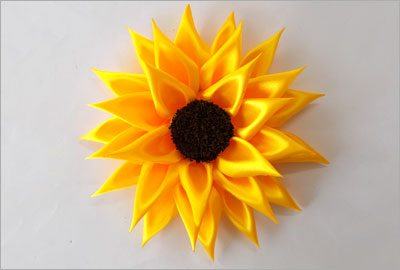 Satin sunflower easy crafts
