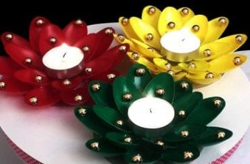 Diwali Diya Decoration From Plastic Spoons