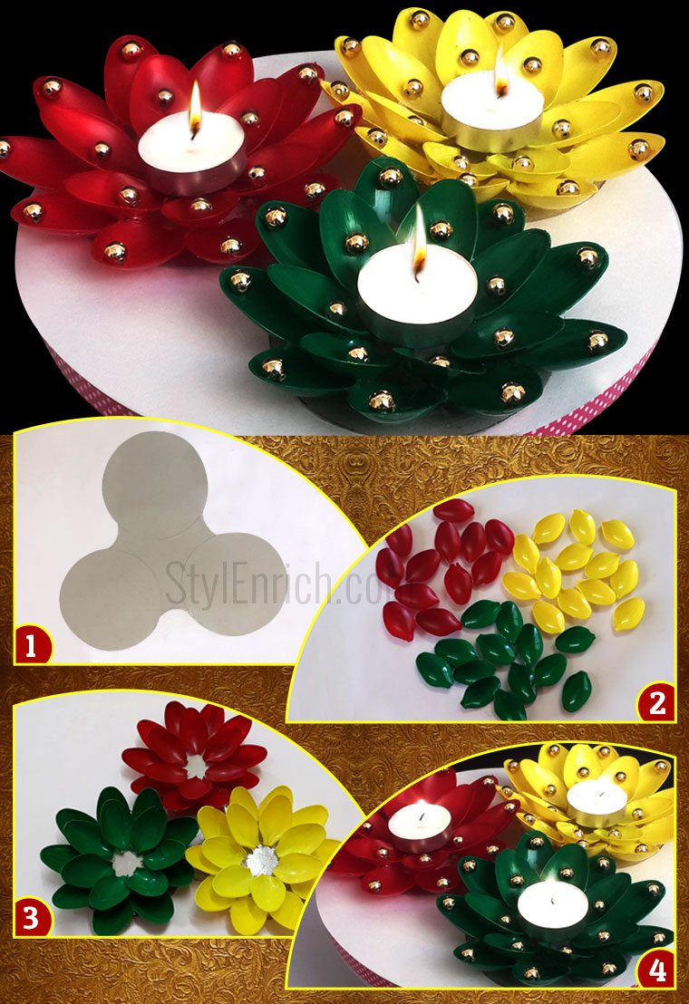 Diwali diya decoration from plastic spoons to adds an for Art and craft decoration