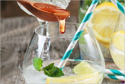 Lemon juice with mint add honey