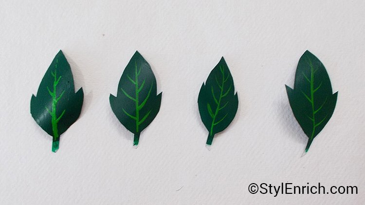 Cut plastic leaves