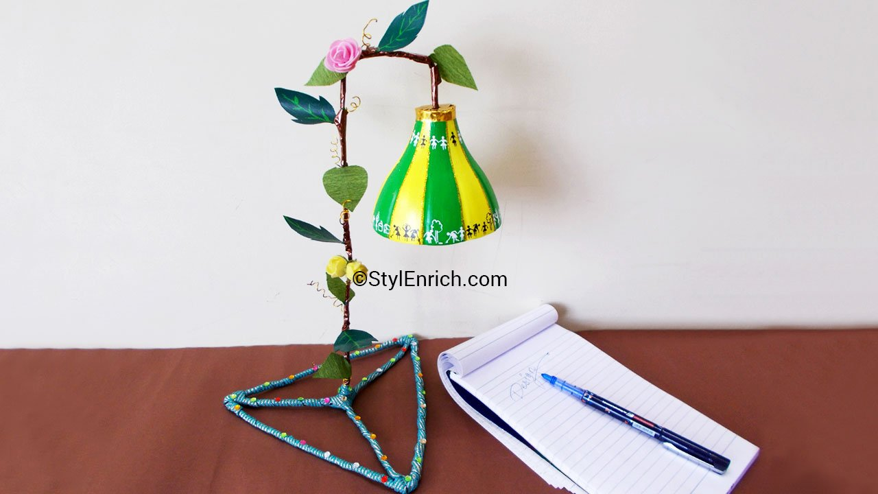 Plastic bottle lampshade is ready