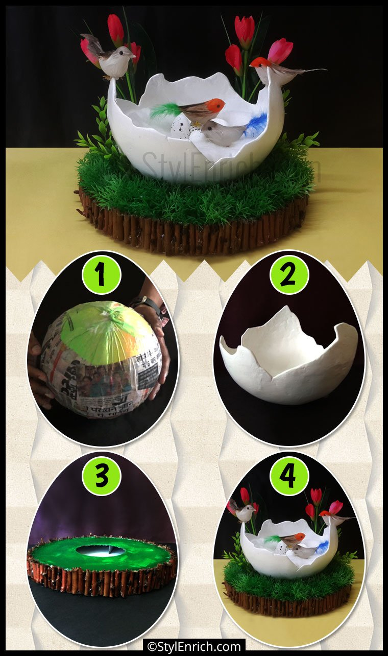 Diy bird nest home decor best out of waste craft using for The nest home decor