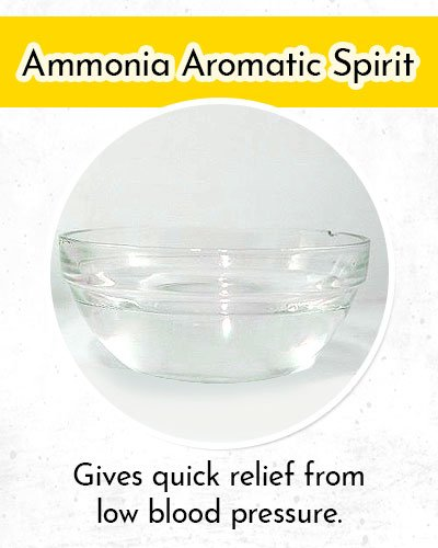 Ammonia Aromatic Spirit to Control Low Blood Pressure