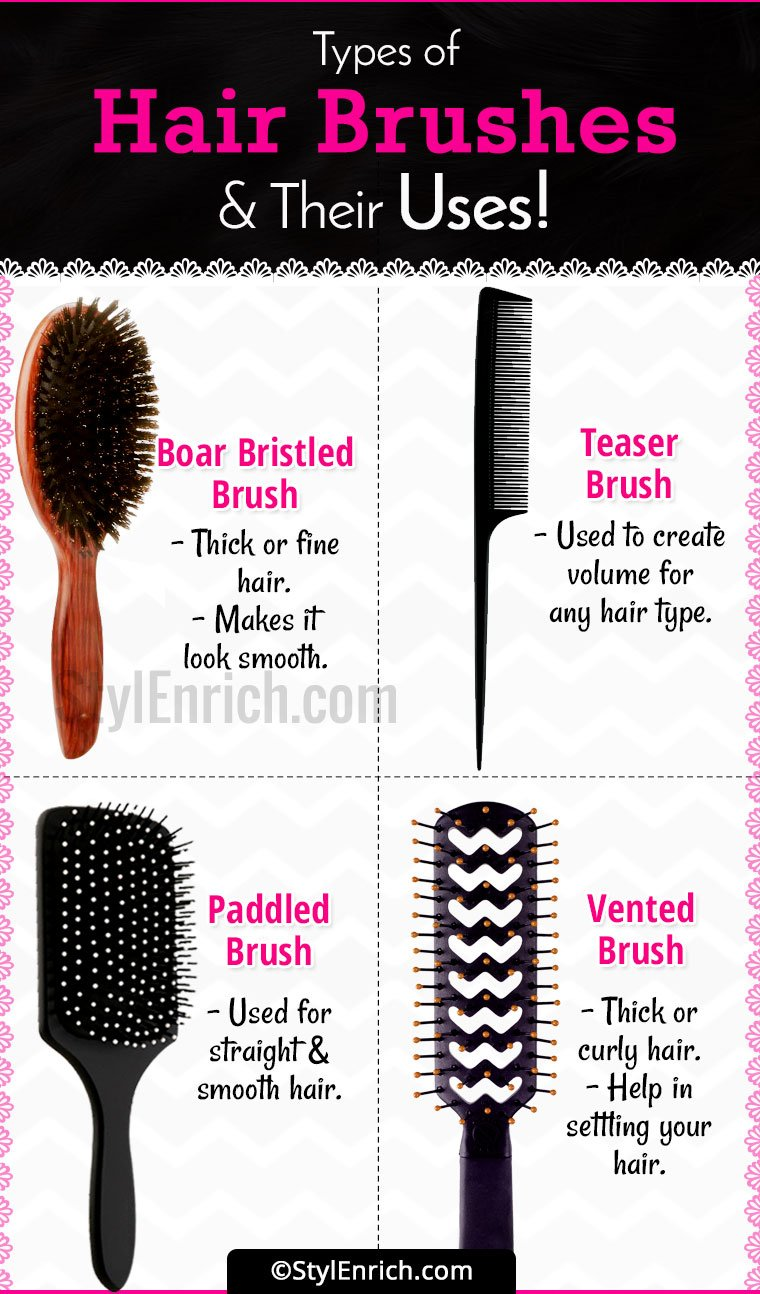 Types Of Wine Bottles Infographic: Hair Brush Types : A Complete Guide To Hair Brushes And