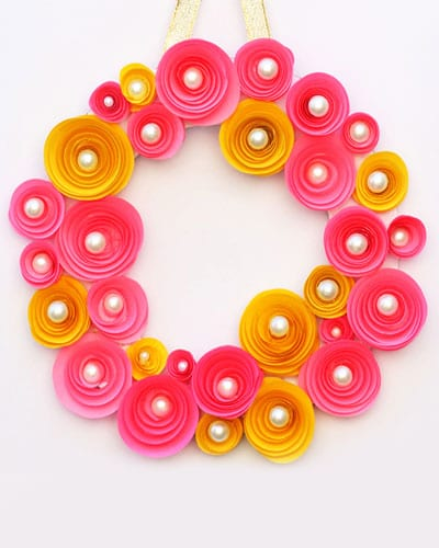 DIY Rolled Paper Roses Wreath