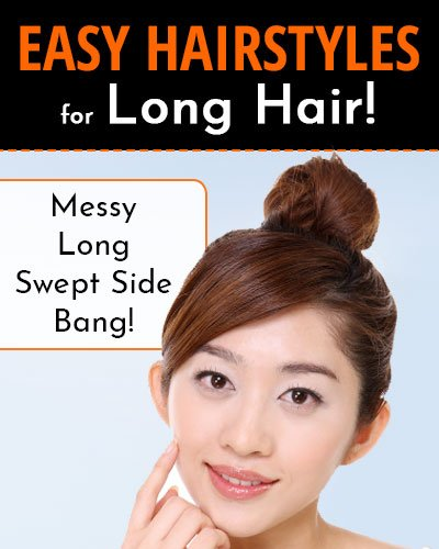Highlighted Updo With Messy Long Swept Side Bang