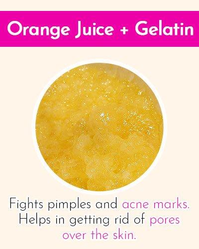 Orange Juice & Gelatin Face Mask