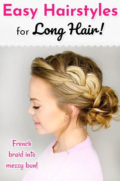 French Braid Into Messy Bun