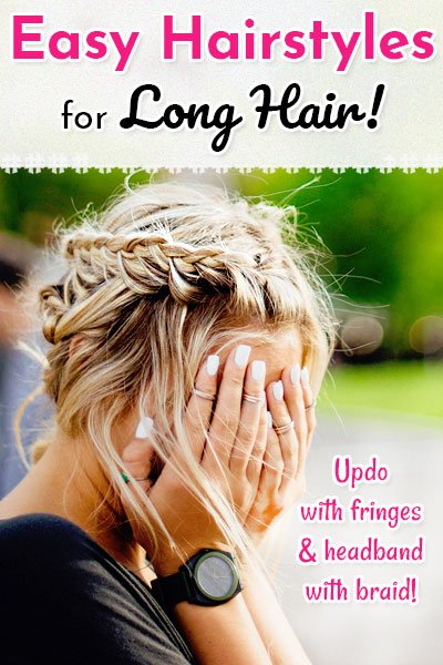 Updo With Fringes And Headband With Braid