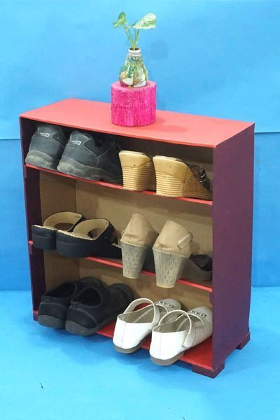 How To Make a DIY Shoe Rack from Waste Cardboard