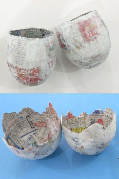 Newspaper balloon cut to give a shape of the nest