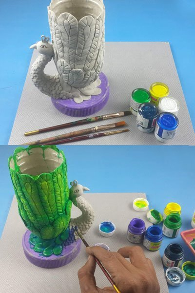 How to Make a Beautiful Peacock Flower Pot