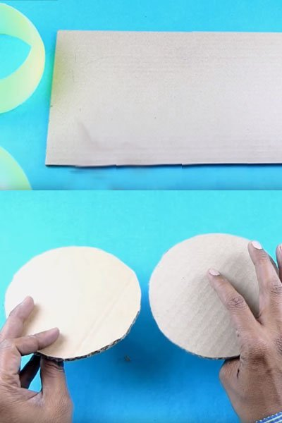 Take a cardboard and cut it into circular shape as shown