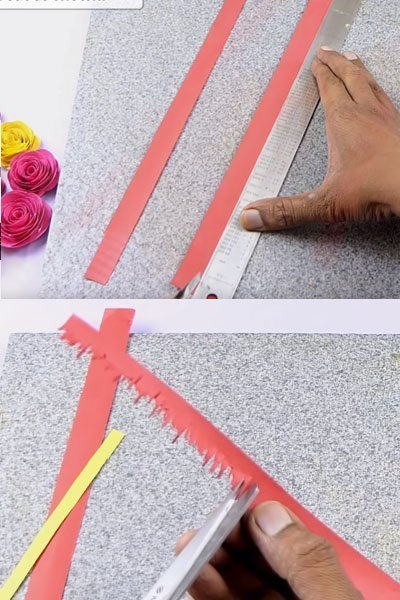 Cut the paper stripes using ruler and scissors along the edge