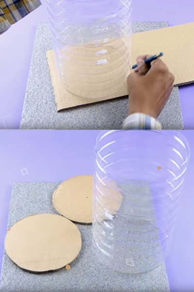 Take a cardboard and draw markings on it as shown