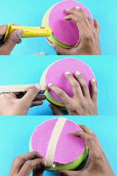 Make a handle of basket using jute cloth piece