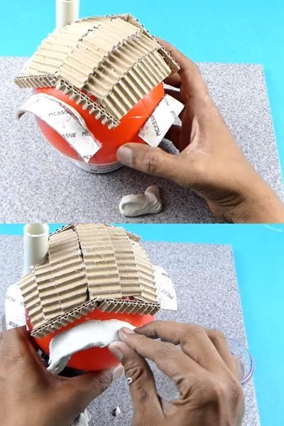 Use clay to make doors and windows of doll house