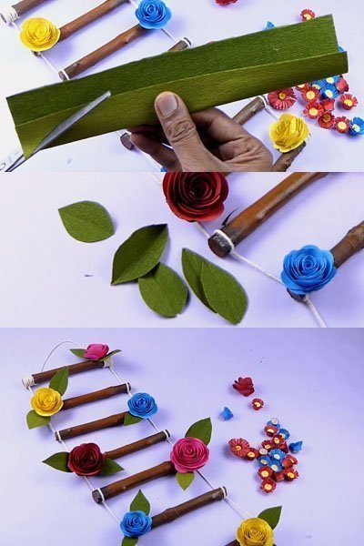 Make green leaves from crepe paper