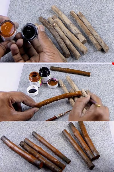 Take few dried tree branches. Cut and paint them as shown.