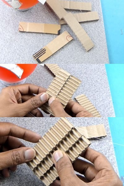 Take few cardboard pieces and peel off the outer layer